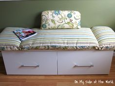 DIY a seating bench with storage for the kitchen