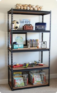 Industrial shelf for boys' room - they sell these in Bunnings!