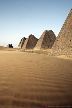 The Meroe Pyramids are located in the North-East of Sudan (Nubia, Kingdom of Kush). The first of the Meroe Pyramids were built about 800 years after the last Egyptian pyramids were completed.