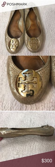 Size 8 Tory Burch gold reva flats Size 8 Tory Burch gold reva flats Tory Burch Shoes Flats & Loafers