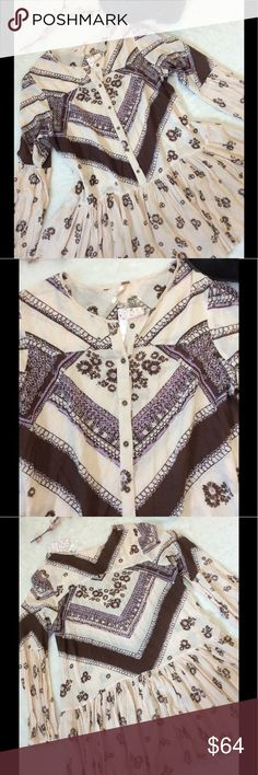 💜NWT Free People Tea Combo Tunic Dress 💜Free People NWT ORIGINAL price $128 Paid $64 Sale Price Tea combo Baby Light Pink with Brown And Lavender  Geometric Flower pattern 100% Rayon 33in Shoulder top to hem 22in Armpit to Armpit  23in Sleeve Free People Dresses Long Sleeve