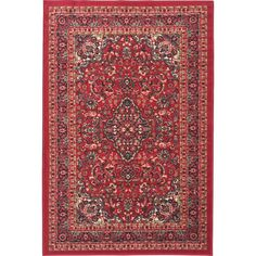 OT2210 - Ottohome, Persian Heriz Oriental Design Rug with Non-Skid Rubber Backing, Red