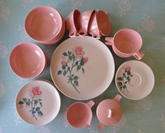 Vintage Melmac Dishes Set of 8 Pink Rose Dishes by GypsyGeranium, $42.00