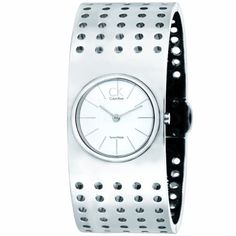CK Calvin Klein Women's K8324120 Silver Tone Grid Watch CK Calvin Klein. $209.00. Cuff bracelet. Water resistant 30 meters. 23 mm stainless steel case. Swiss quartz movement. Antireflective sapphire crystal