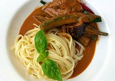 Thai Red Vegetables Curry Linguine Recipe -  Very Delicious. You must try this recipe!