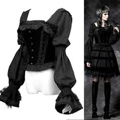 Black Long Sleeve Victorian Gothic Lolita Fashion Blouse Shirt Women SKU-11407287