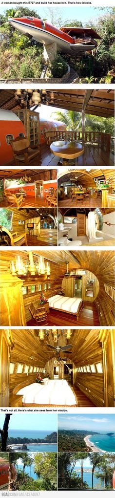 New take on tree house - a woman bought a B727 & built her house in it.