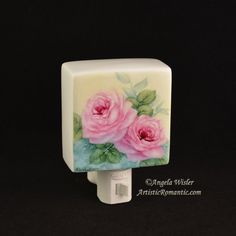Victorian Ruby Pink Rose Hand Painted China Nightlight Porcelain