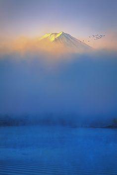 Sunrise in Mount Fuji above Lake Kawaguchi, Yamanashi, Japan