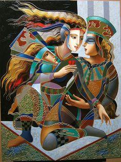 Oleg Zhivetin es un artista nacido el 8 de marzo de 1964 en la ciudad de Tashkent, Uzbekistán, en una familia de artistas plásticos de gran nivel. Comenzó a pintar a muy temprana edad bajo la supervisión de su padre. Obtuvo su título de Bellas Artes en 1982. La pintura de iconos rusos es un elemento básico y profundo de puntos de referencia en el trabajo de Oleg