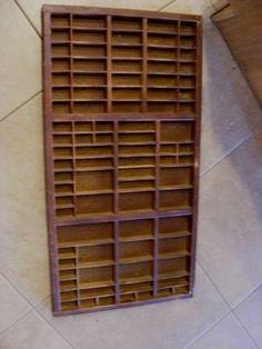 Wood Wall SHADOW BOX SHELVES Shelving Letter Press TRAY DRAWER Lg Vintage Wooden | eBay