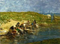 Artist: Eugene Boudin Place of Creation: France Style: Impressionism Genre: genre painting Tags: washing-and-laundry, handwork