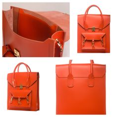 Orange medium size tote bag practical for daily use in side the Pelham bag is spacious with a medium size pocket with the Tomas Brilliance logo embossed at the centre of the pocket  #bag #handbag #tote #orange