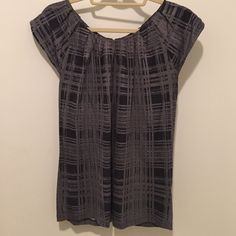 Plaid top with zipper back detail Gently worn, nice fit for pencil skirt or slim pants for work, zipper back detail. 70% rayon 30% lyocell Banana Republic Tops Blouses