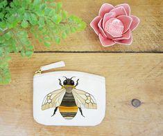Bee Coin Purse Change Purse Coin Pouch Zip Pouch Canvas Purse Organic Purse Small Zipper Pouch Bee Gift by ceridwenDESIGNby Ceridwen Hazelchild Design