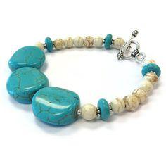 Turquoise Bracelet Sterling Silver Jewelry by jewelrybycarmal, $24.00