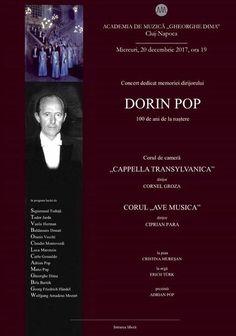"""La vreme de colinde, Academia de Muzică """"Gheorghe Dima"""" aniversează pe unul dintre marii săi profesori, Maestrul Dorin Pop (1917-1985), de la a cărui naștere se împlinesc 100 de ani. Remarcabil dirijor de cor, creatorul corului de cameră """"Cappella Transylvanica"""" și primul dirijor al Corului Filarmonicii clujene, profesor de ansamblu și dirijat coral a aproape…"""