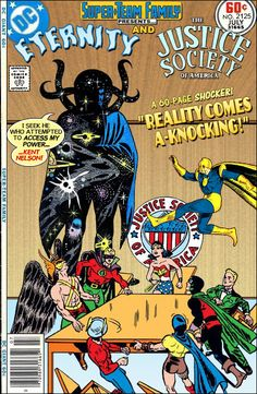 Super-Team Family: The Lost Issues!: Eternity and The Justice Society of America Dc Comic Books, Vintage Comic Books, Vintage Comics, Comic Book Covers, Comic Book Characters, Comic Book Heroes, Black Cat Marvel, Marvel Vs, Marvel Dc Comics