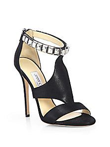 Jimmy Choo - Halo Shimmer Suede Crystal-Strap Sandals