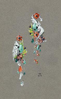 Tony FURION : Boucles d'oreiles '' Perroquets '' joaillerie gouaché - dessin bijoux jewellery rendering