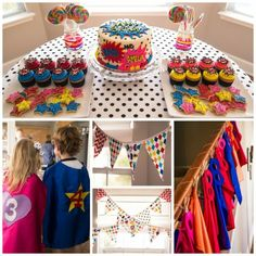 """Co-ed superhero party - how cute! Generic super hero birthday party for boys and girls. Who needs """"pirates and princesses"""" anyway? ;) by belinda"""