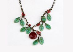 Red Gemstone Necklace, Red Green Beaded Necklace, Nature Jewelry, Woodland Jewelry