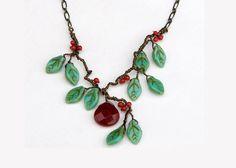 Ruby Quartz Gemstone Necklace Red Green by CherylParrottJewelry