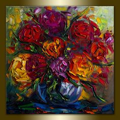 Original Floral Textured Palette Knife Painting Oil by willsonart, $155.00