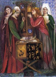 The Athenaeum -ROSSETTI, Dante Gabriel  English Pre-Raphaelite (1828-1882)_The Blue Closet - 1857