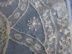 Antq French Normandy Lace Embroidered Net Tulle Lace Mats Doilies Set 9 | eBay