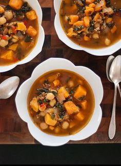 Vegan Sweet Potato, Kale, and Chickpea Soup