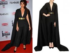 GET THIS LOOK  We love how Ileana D'Cruz stuns the red carpet in this alluring black outfit by Nikhil Thampi