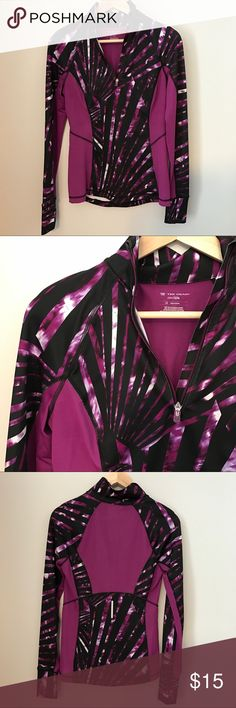 Dry Fit Quarter Zip Dry fit quarter zip in magenta and black print. Perfect condition, no pilling. tek gear Tops