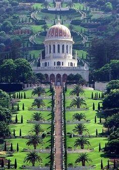 another look at the Bahai's Hanging Gardens & Temple  (The #Ba'hai temple on Mt. #Carmel, #Haifa, Israel)