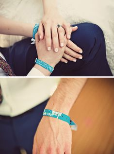festival wedding fabric wristbands - goes well with carnival theme can have different colors for VIP wedding guests, which rows at ceremony/tables etc. explain in program so people dont wonder Wedding Notes, Chic Wedding, Perfect Wedding, Dream Wedding, Wedding Stuff, Festival Chic, Festival Party, Festival Themed Wedding, Carnival Wedding
