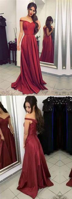 elegant off shoulder burgundy satin long prom dress, PD7940