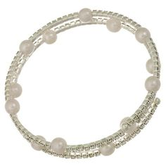 Crystal Rhinestone Adjustable Silver Tone Wrapping Wire Bracelet with Faux Pearl…