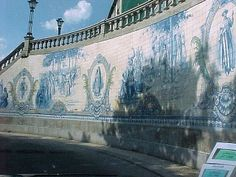 Mural in Blue and White Tiles