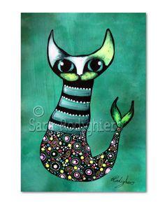 Kunstverstecke - Kleiner Catfish  - Katze von PuntoPazzo ~ Katzen Kunst und vieles mehr auf DaWanda.com