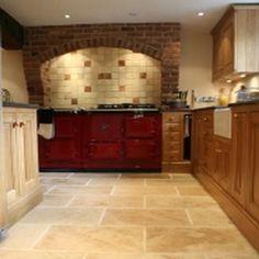 Travertine, Tile Floor, Tiles, Kitchen Cabinets, Flooring, Home Decor, Room Tiles, Decoration Home, Room Decor