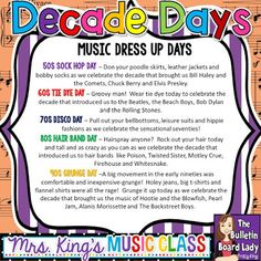 decades day spirit week Great ideas for dress up days or spirit days during Music In Our Schools Month. Prepare for your MIOSM celebration with lots of fun ideas. Spirit Week Themes, Spirit Day Ideas, Spirit Weeks, Ferris Bueller, Elementary Music, Elementary Schools, Decade Day, School Spirit Days, Homecoming Spirit Week