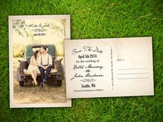 "Photo Save The Date Wedding PostCard - Vintage Rustic French Troyes Customizable 4"" x 6"" - 50 Pieces PRINTED Double Sided Premium Postcard on Etsy, $60.00"
