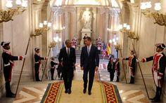 El rey Felipe VI recibe al presidente de EEUU, Barack Obama, en el Palacio Real de Madrid.