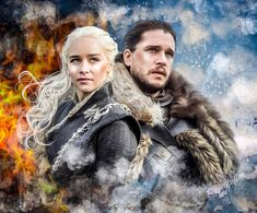 Daenerys Targaryen and Jon Snow, from HBO Game of Thrones, digital drawing by artist Vera Adxer Dany And Jon, Jon Snow And Daenerys, Game Of Throne Daenerys, Game Of Thrones Poster, Game Of Thrones Facts, Got Game Of Thrones, Got Jon Snow, John Snow, Daenerys Targaryen Art