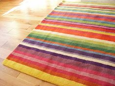 Candy Colored Striped Rug For Kids Bat Rec Room