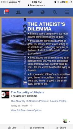 The atheists dilemma                                                                                                                                                                                 More