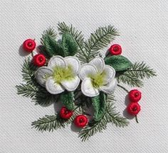 Image detail for -Luan B. Callery Christmas Rose - a Stumpwork Embroidery