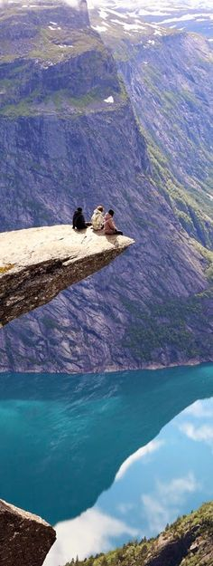 This looks like the real life Pocahontas cliff that she jumps off and dives into the water below!  Very Beautiful!    Trolltunga, Norway.