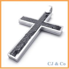 Silver Black Stainless Steel Cross Men Pendant Necklace - $60nok