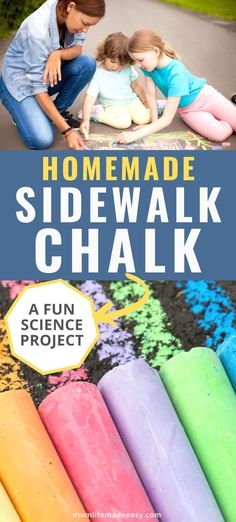 Try this DIY homemade sidewalk chalk recipe today! Detailed steps on how to make easy homemade sidewalk chalk for fun outdoor art projects! Sidewalk chalk is easier and better than pain and is a great opportunity for kid art ideas or even an obstacle course for kids. Try this DIY recipe today and your kids will be entertained for hours! #activitiesforkids #forkids #funforkids #sidewalkart